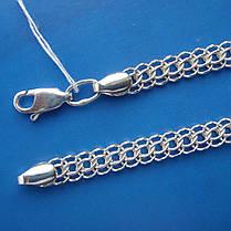 Серебряная цепочка, 600мм, 34 грамма, плетение Питон, светлое серебро, фото 3