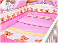 """Постельное в кроватку из 8 ед-""""Мишка в горошек"""". Балдахин  вуаль цветная"""