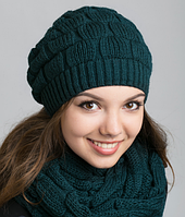 Женский вязаный комплект - шапочка и шарф 1001 (бутылочный)