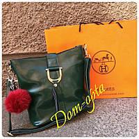 Женская кожаная сумка Design через плечо зеленая