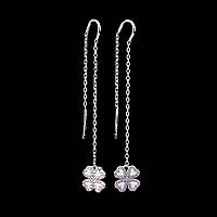 Серебряные женские серьги с перламутром и фианитами