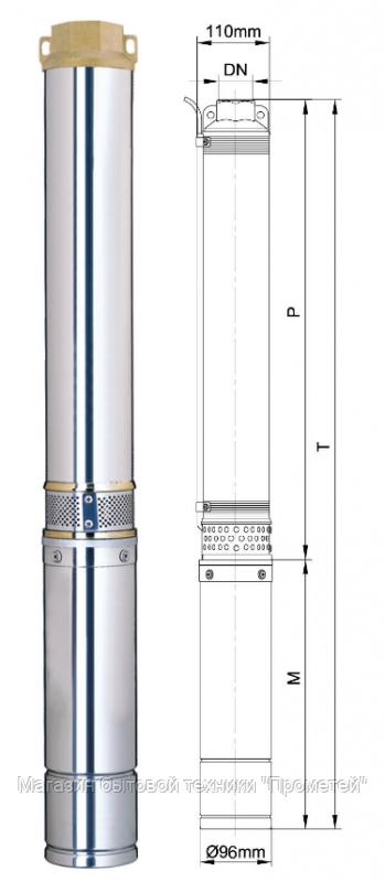 Глубинный насос Aquatica центробежный 380В 7500Вт 265м 180л/мин+ПЗУ