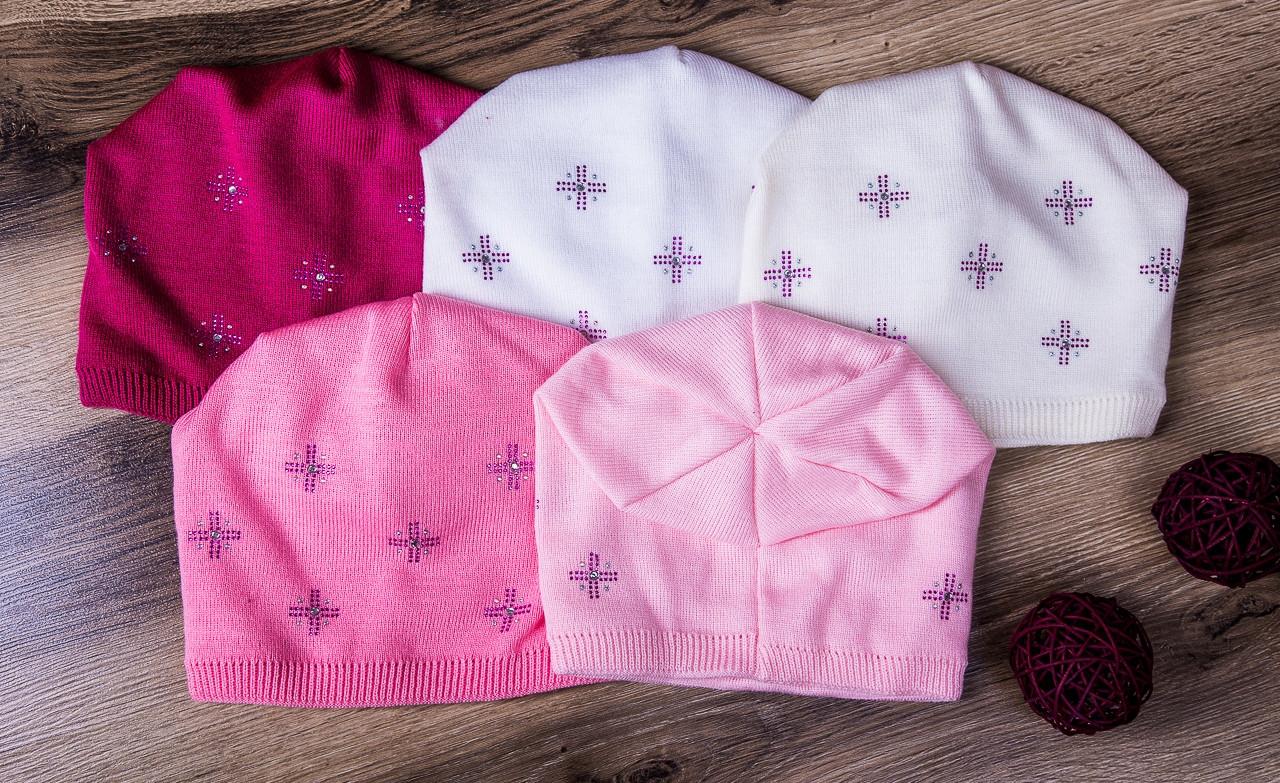 Модная шапка для девочек из двойной вязки оптом - СНЕЖИНКИ - зима - Артикул 1792, фото 3