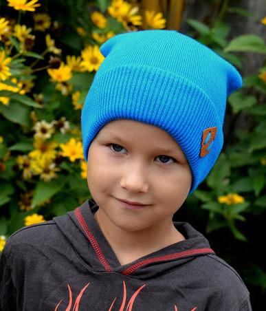 Шапка для мальчика Арктик Хаус, голубой, вязка (р.50-54)