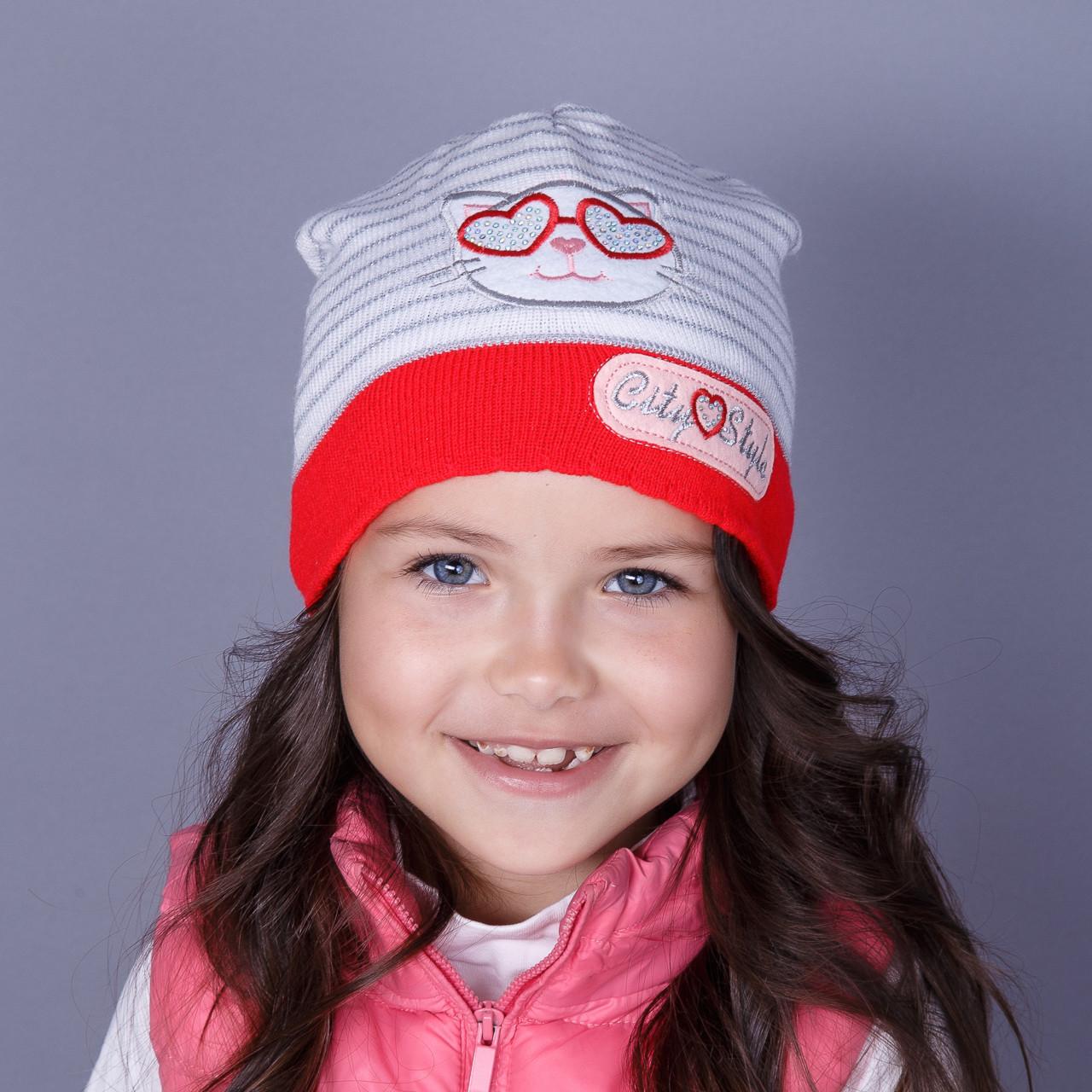 Модная вязанная шапка для девочек оптом - City Style - осень  - Артикул 1509