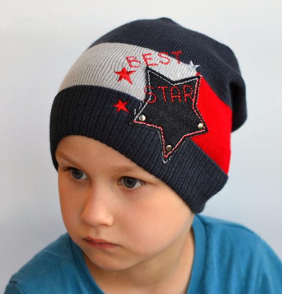 Шапка для мальчика Арктик Звезда, графит-красный, вязка (р.47-54)