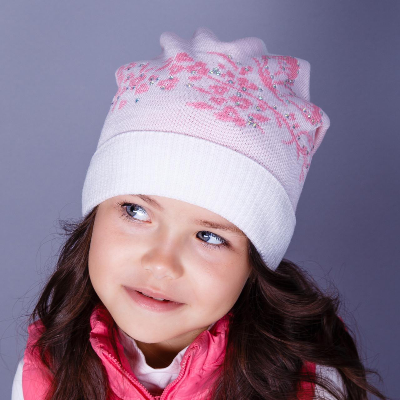 Нарядная вязанная шапка с подгибом для девочек оптом - зима  - Артикул 1511