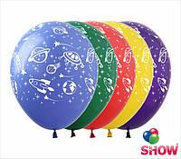"""Латексные воздушные шары с рисунком """"Космос"""", диаметр 12 дюмов (30 см.), печать шелкография 5 сторон, 50 штук"""