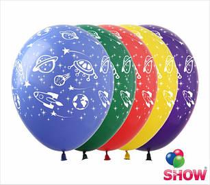 """Латексные воздушные шары с рисунком """"Космос"""", диаметр 12 дюмов (30 см.), печать шелкография 5 сторон, 100 штук"""