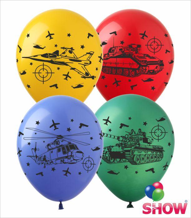 """Латексні повітряні кулі з малюнком """"Войнушки"""", діаметр 12 дюмовий (30 див), друк, шовкографія 4 сторони,100 шт"""