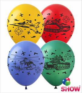 """Латексные воздушные шары с рисунком """"Войнушки"""", диаметр 12 дюмов (30 см.), печать шелкография 4 стороны,100 шт"""