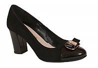 Туфли черные замш+лакированная кожа ТМ Лидер