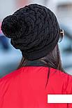"""Женская модная вязанная шапка с помпоном """"Коса"""" (расцветки), фото 3"""