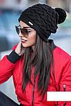"""Женская модная вязанная шапка с помпоном """"Коса"""" (расцветки), фото 4"""