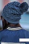 """Женская модная вязанная шапка с помпоном """"Коса"""" (расцветки), фото 5"""