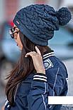 """Женская модная вязанная шапка с помпоном """"Коса"""" (расцветки), фото 6"""