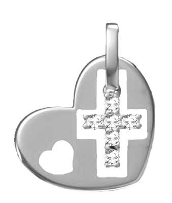 Подвеска серебряная Крест в Сердце 5016