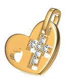 Подвеска серебряная Крест в Сердце 5016, фото 4