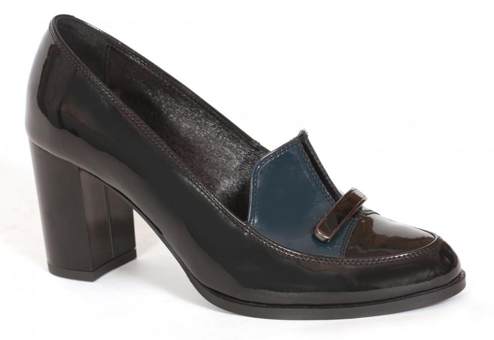Туфли ТМ Лидер лаковые черные с темно-зеленым