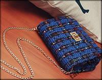 Сумочка под Chanel из ткани, черная, синяя, красная