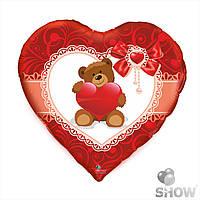 """Шары из фольги """"Мишка с сердцем"""" сердце 18 дюймов ( 45 см), 1 штука"""
