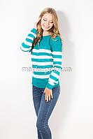 Кофта пуловер женская трикотаж бирюза Полоска р.46