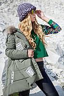 Оригинальная молодежная зимняя куртка пуховик с мехом енота