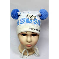 Вязанные шапки на мальчика балабон мышка вышивка 44-48 см акрил на завязках (цвета в ассортименте)