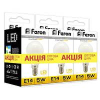 Лампа светодиодная Feron LB-95  P45 230V 5W 400Lm E14 2700K (3шт/скотч)
