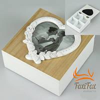 Деревянная шкатулка с фоторамкой Сердце
