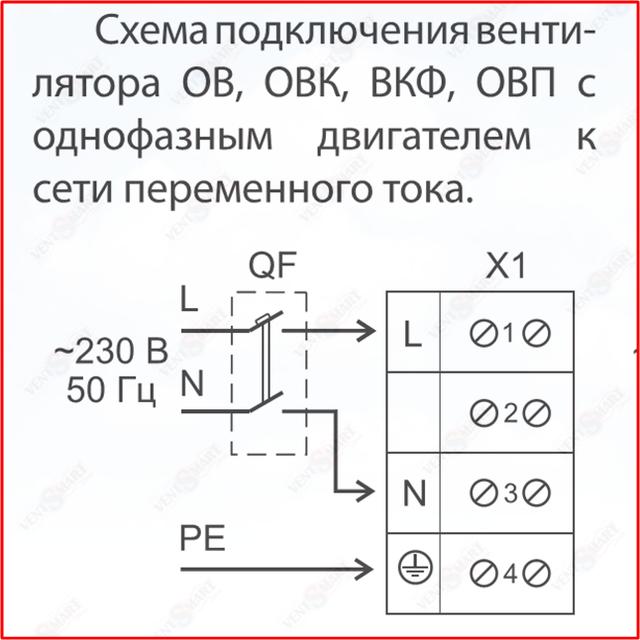 Подключение осевых однофазных вентиляторов ВЕНТС ОВ к сети электропитания 220 В 50 Гц