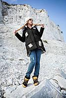 Оригинальная молодежная зимняя куртка пуховик с мехом чернобурки