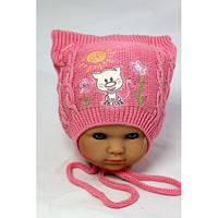 Вязанные шапки на девочку осень весна 46-48 вышивка котик акрил на завязках (цвета в ассортименте)