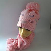 Шапка+шарф для девочки на флисе 4-12 лет оптом