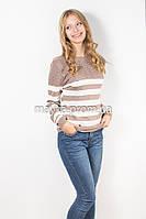 Кофта пуловер женская трикотаж кофейная Полоска р.48