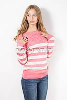 Кофта пуловер женская трикотаж коралл Полоска р.46