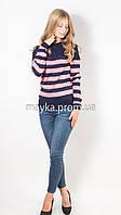 Кофта пуловер женская трикотаж синий+коралл Полоска р.46