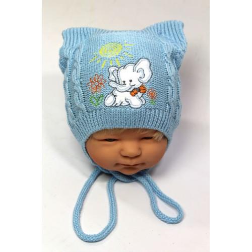 Вязанные шапки на мальчика осень весна 46-48 см вышивка слоник акрил на завязках (цвета в ассортименте)