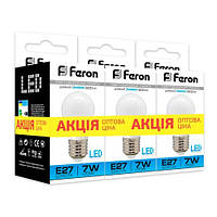 Лампа светодиодная Feron LB-95 G45 230V 7W 600Lm  E27 6400K  (3шт/скотч)
