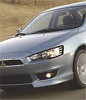 Захист передніх фар Mitsubishi Lancer X 2007+ р. в. Мітсубісі Лансер 10