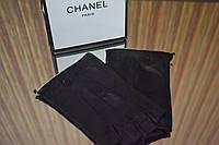 Перчатки (митенки ) Chanel черные с оборкой серебро