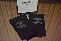 Перчатки (митенки ) Chanel черные декорированны бисером