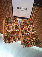 Перчатки (митенки ) Chanel бежевые с твидом