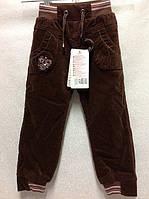Теплые вельветовые брюки на девочек 104,116 роста на флисовой подкладке Шоколадка