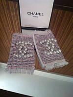 Перчатки (митенки ) Chanel  с твидом светло розовые