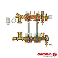 Коллектор Giacomini (R557FY004) 4 выхода с расходомерами (гребенка теплого пола)