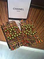 Перчатки (митенки ) Chanel оливковые с твидом и бусинами