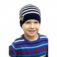 Вязанные шапки на мальчика молния акрил осень весна 46-50 см (цвета в ассортименте)