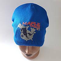 Детская вязаная шапка для мальчика на флисе 4-7 лет оптом