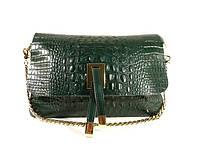Кожаная женская сумочка Eva 60883 зеленая рептилия